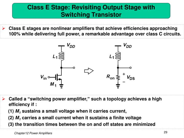 Class E Stage: Revisiting Output Stage with Switching Transistor