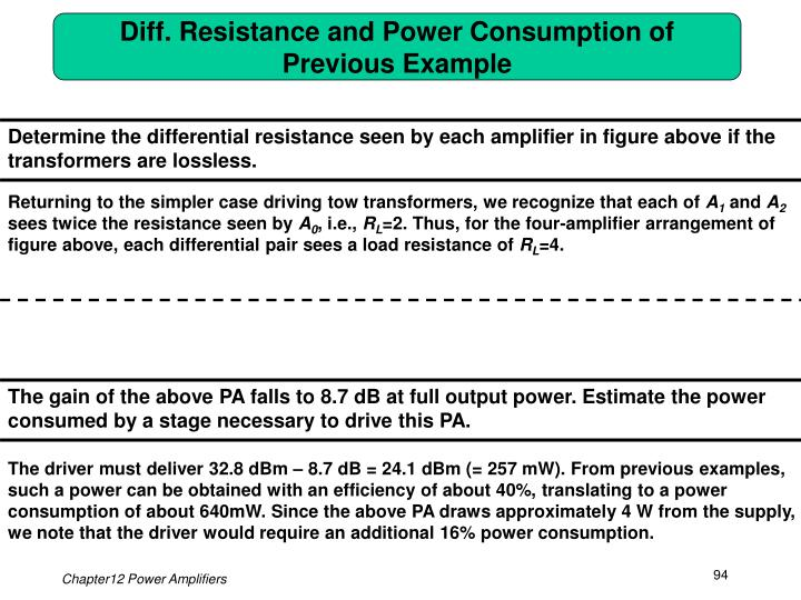 Diff. Resistance and Power Consumption of Previous Example