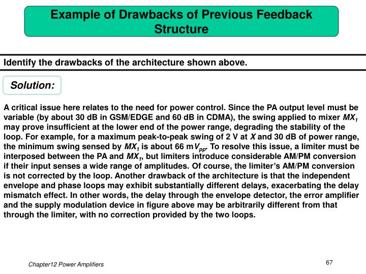 Example of Drawbacks of Previous Feedback Structure