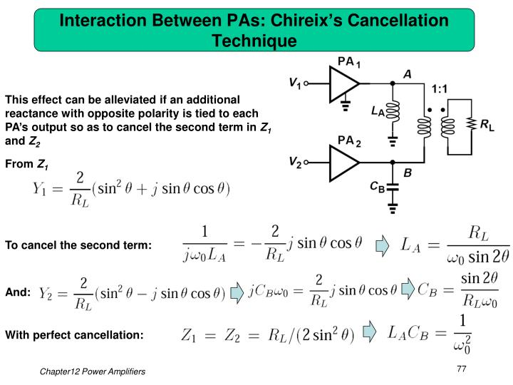 Interaction Between PAs: Chireix's Cancellation Technique