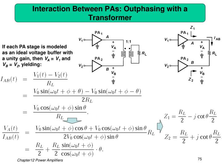 Interaction Between PAs: Outphasing with a Transformer