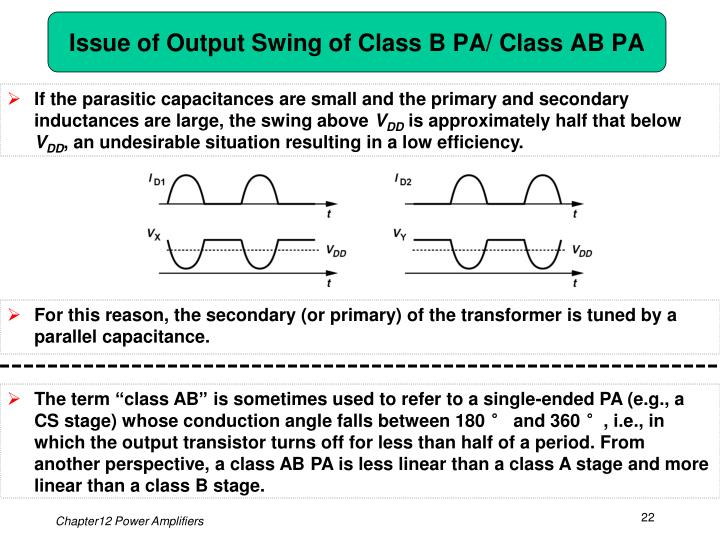Issue of Output Swing of Class B PA/ Class AB PA