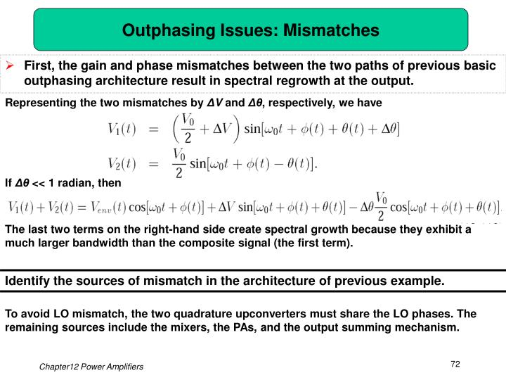 Outphasing Issues: Mismatches