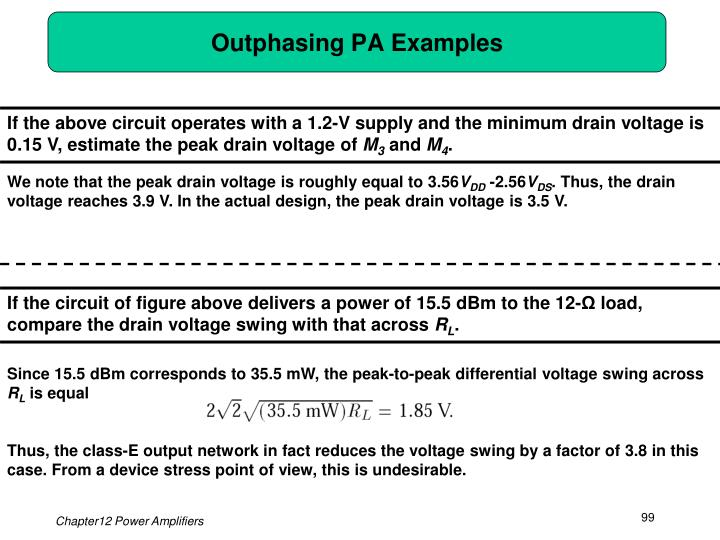 Outphasing PA Examples