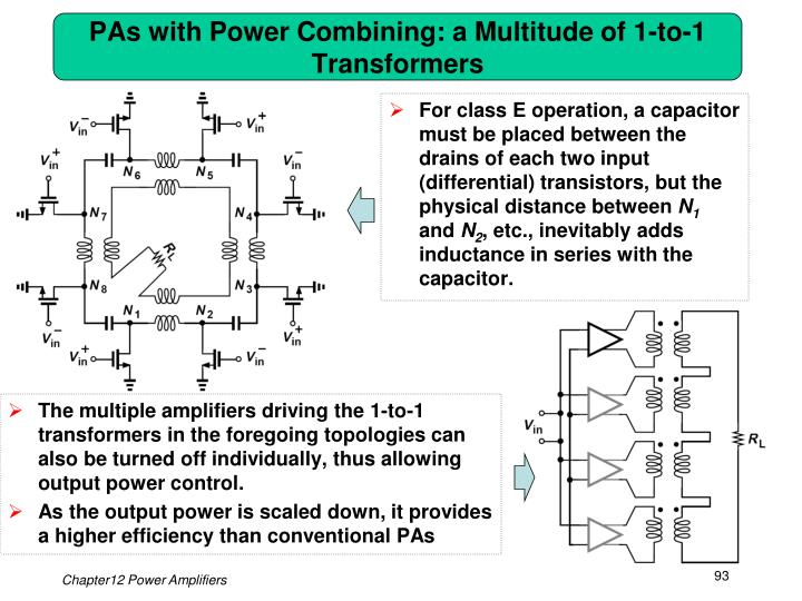 PAs with Power Combining: a Multitude of 1-to-1 Transformers