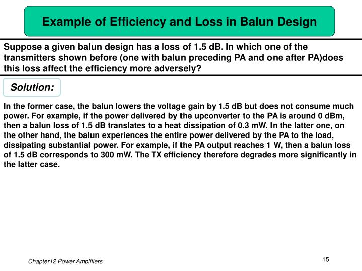 Example of Efficiency and Loss in Balun Design