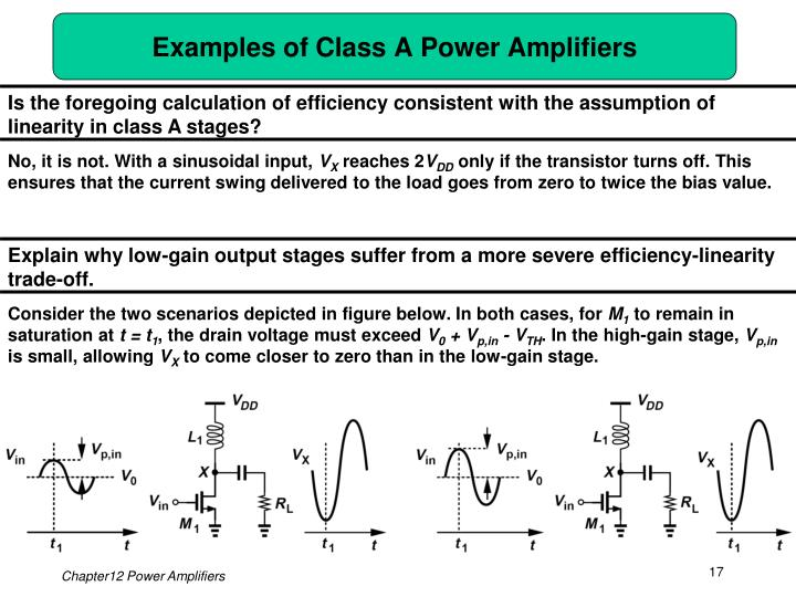 Examples of Class A Power Amplifiers