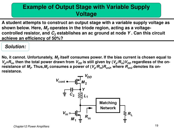 Example of Output Stage with Variable Supply Voltage