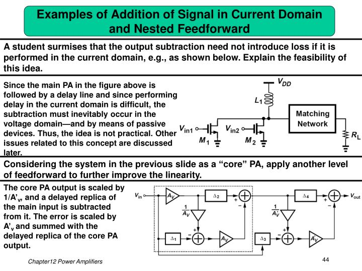 Examples of Addition of Signal in Current Domain and Nested Feedforward