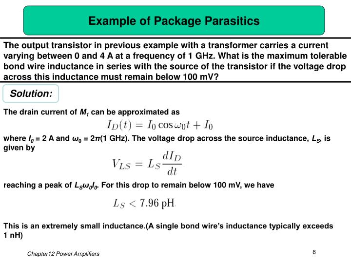 Example of Package Parasitics