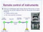 remote control of instruments