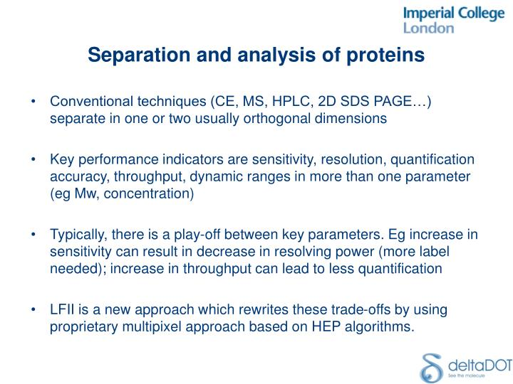 Separation and analysis of proteins