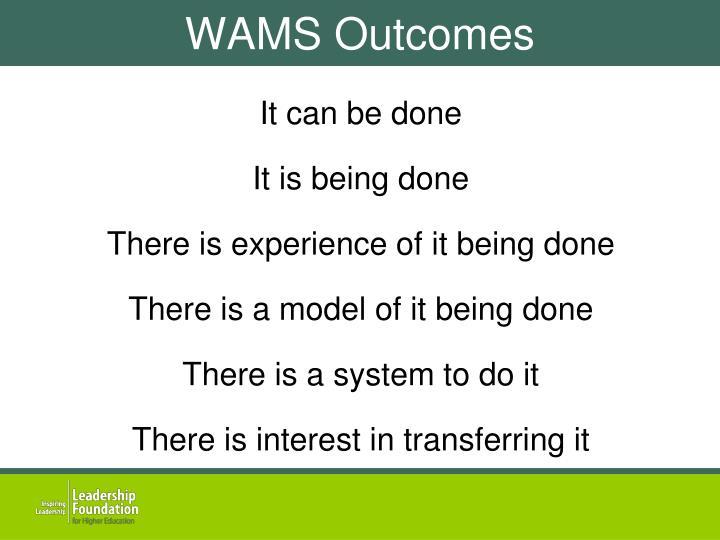 WAMS Outcomes