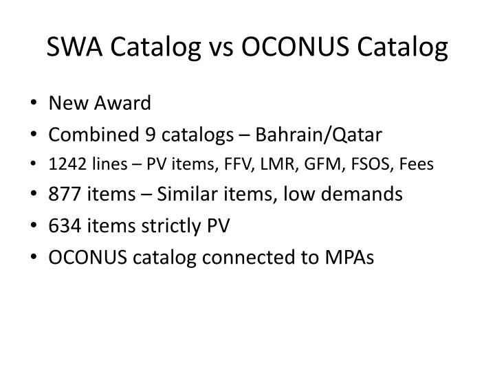 Swa catalog vs oconus catalog