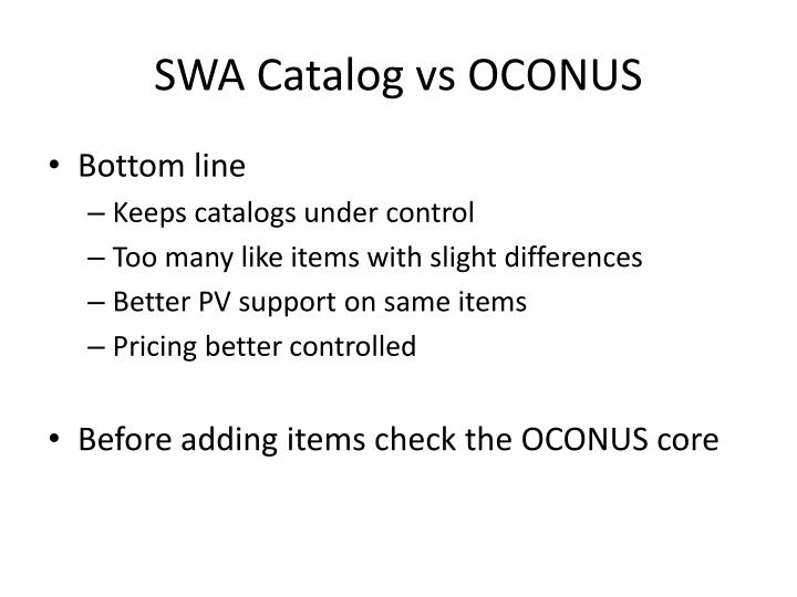 SWA Catalog vs OCONUS