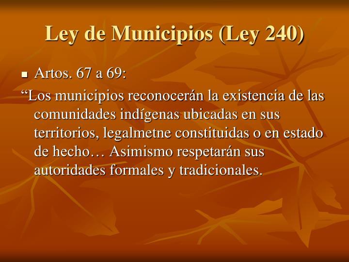 Ley de Municipios (Ley 240)