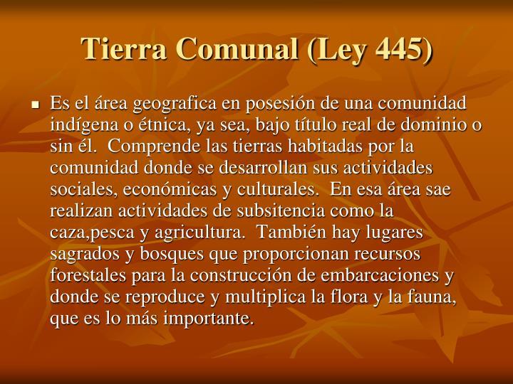 Tierra Comunal (Ley 445)