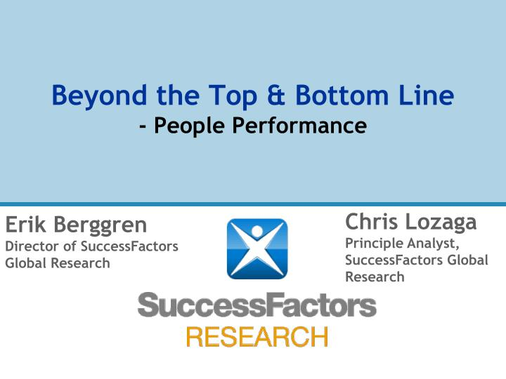 Beyond the top bottom line people performance