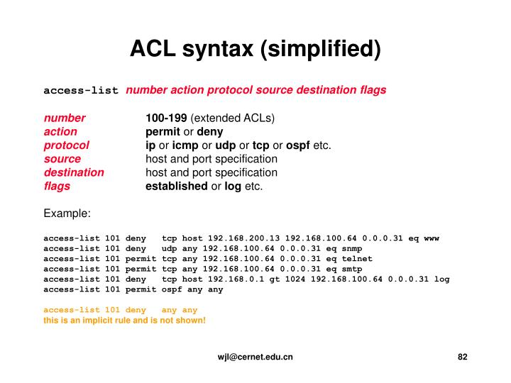 ACL syntax (simplified)