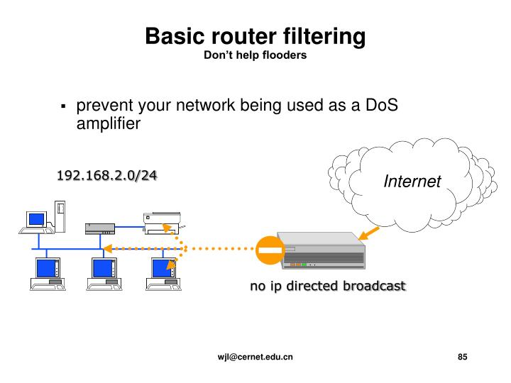 prevent your network being used as a DoS amplifier