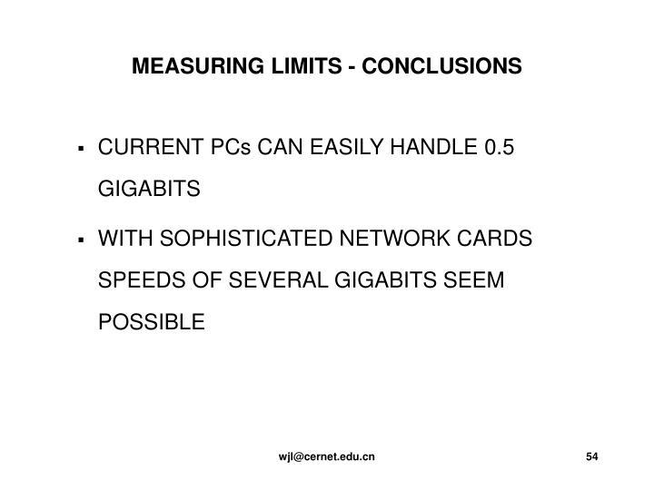 MEASURING LIMITS - CONCLUSIONS