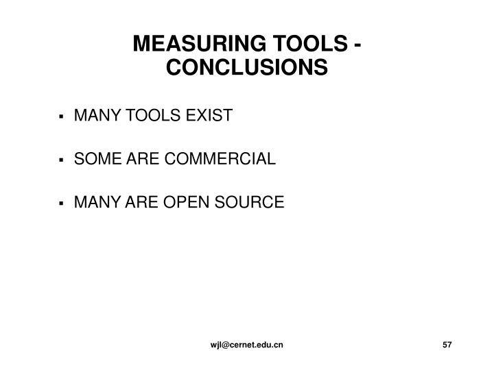 MEASURING TOOLS - CONCLUSIONS