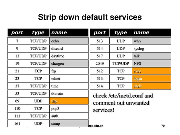 Strip down default services