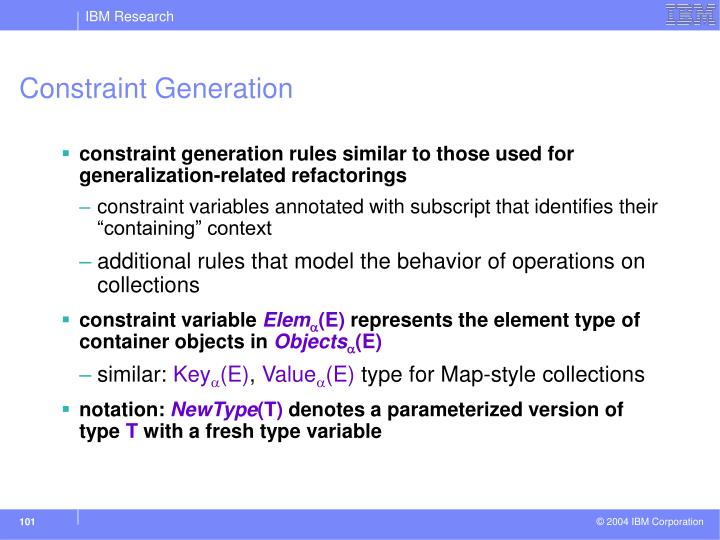 Constraint Generation