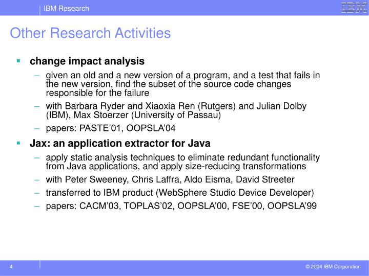 Other Research Activities