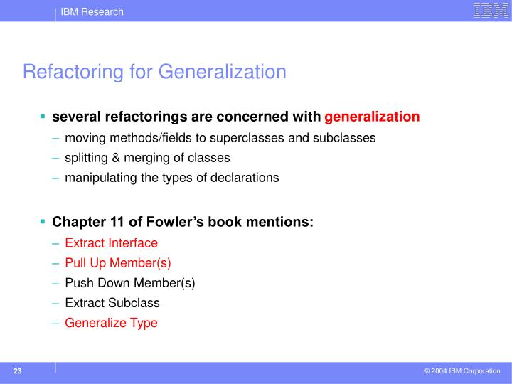 Refactoring for Generalization