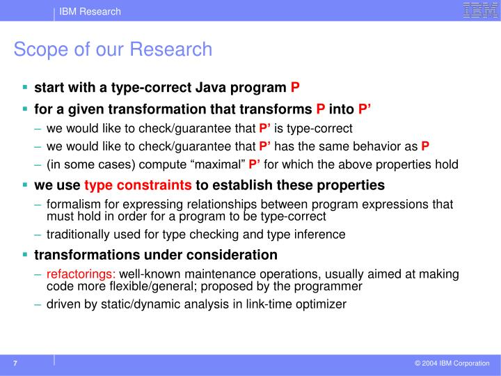 Scope of our Research