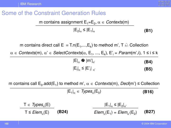 Some of the Constraint Generation Rules