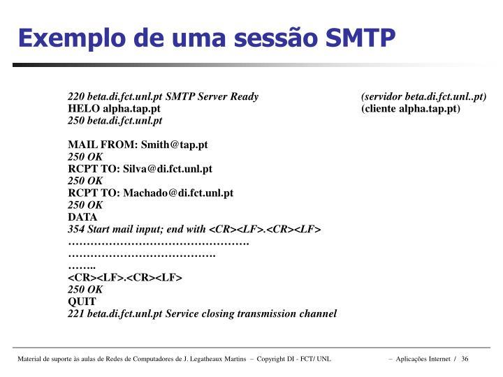 Exemplo de uma sessão SMTP