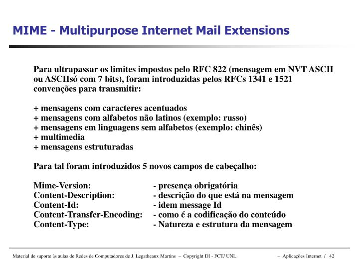 MIME - Multipurpose Internet Mail Extensions
