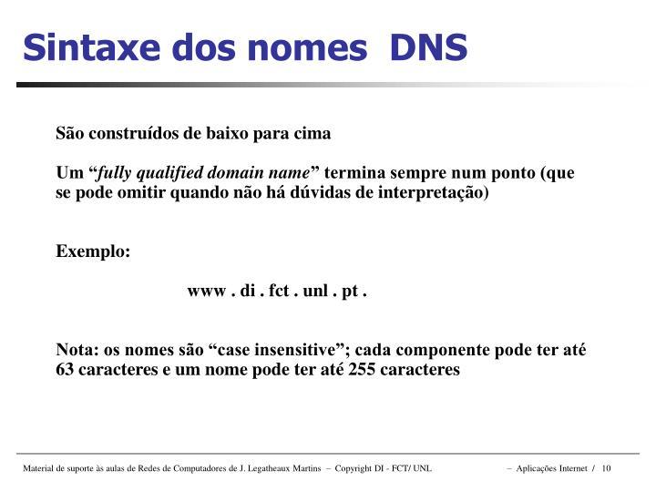 Sintaxe dos nomes  DNS