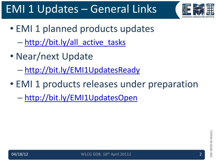 EMI 1 Updates – General Links