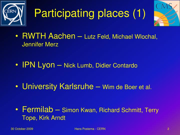 Participating places (1)