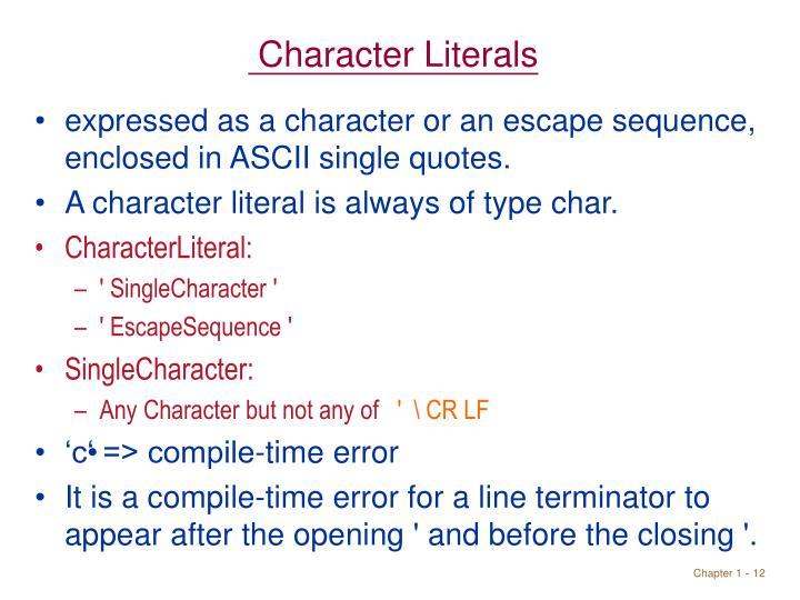 Character Literals