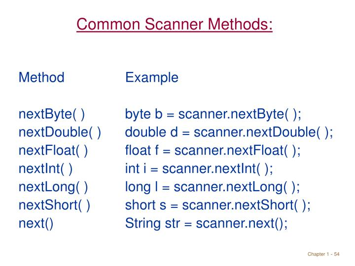 Common Scanner Methods: