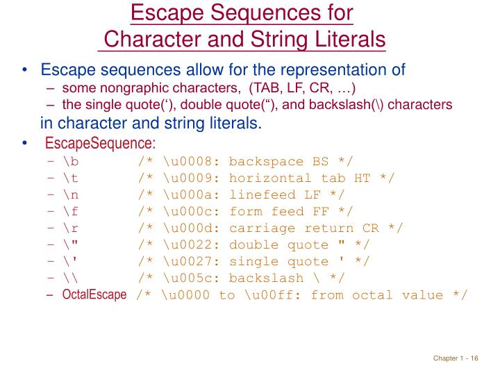 Escape Sequences for