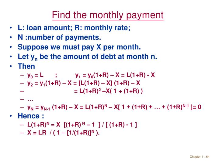 Find the monthly payment