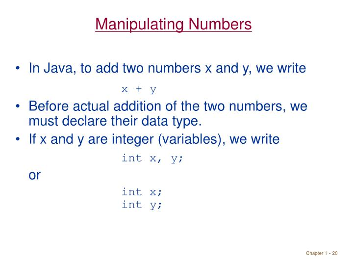Manipulating Numbers