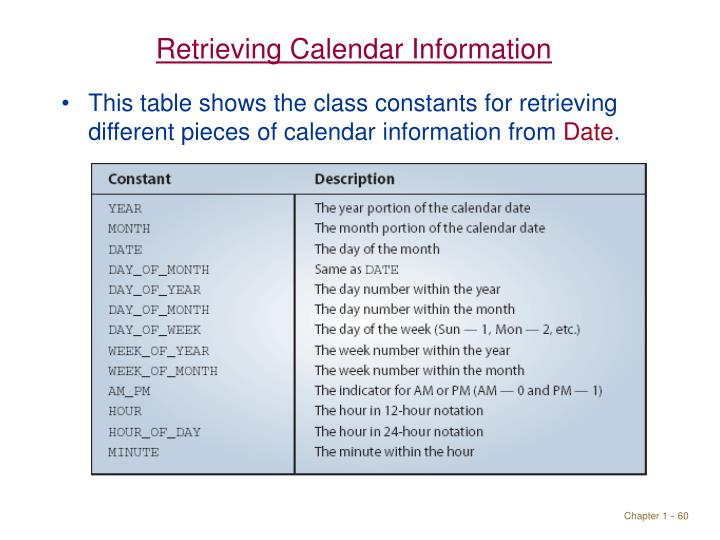Retrieving Calendar Information