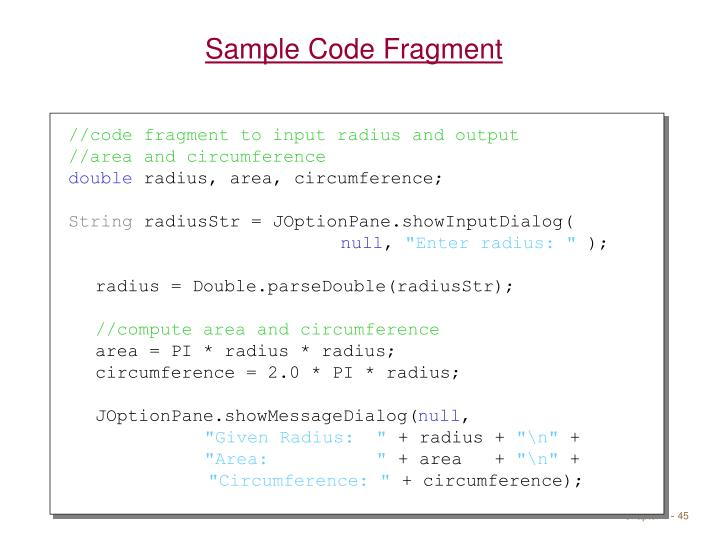 Sample Code Fragment