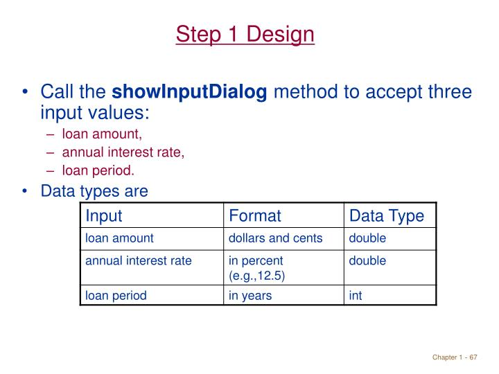 Step 1 Design