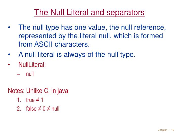 The Null Literal and separators