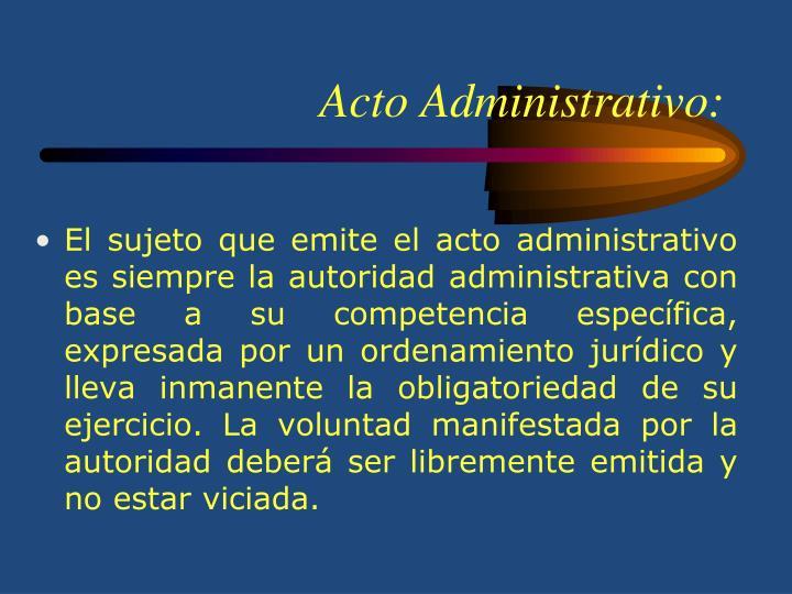 Acto Administrativo: