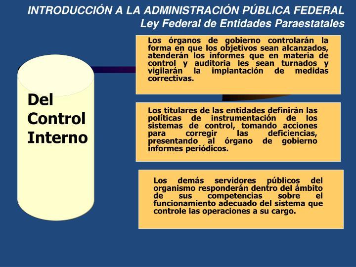INTRODUCCIÓN A LA ADMINISTRACIÓN PÚBLICA FEDERAL
