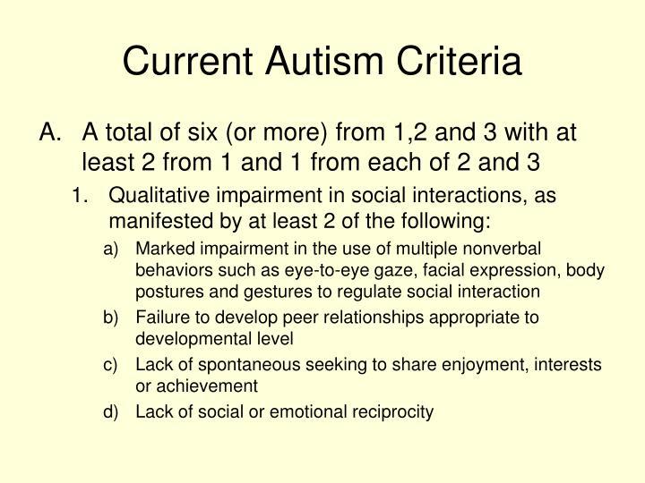Current Autism Criteria