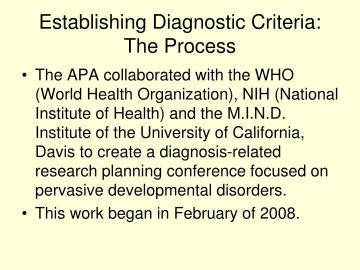 Establishing Diagnostic Criteria: The Process
